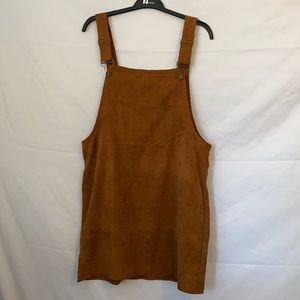 Hengsheng Jeans Brown Corduroy Overall Mini Dress
